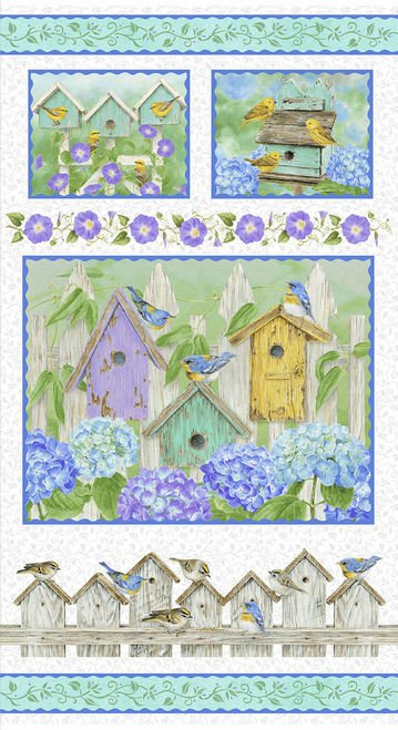HG-Hydrangea Birdsong 1755P-17 Hydrangea Birdsong Panel 24 x 44