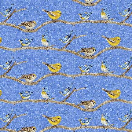 HG-Hydrangea Birdsong 1761-77 Blue - Birds on a Branch