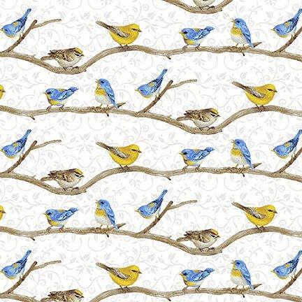 HG-Hydrangea Birdsong 1761-90 White - Birds on a Branch