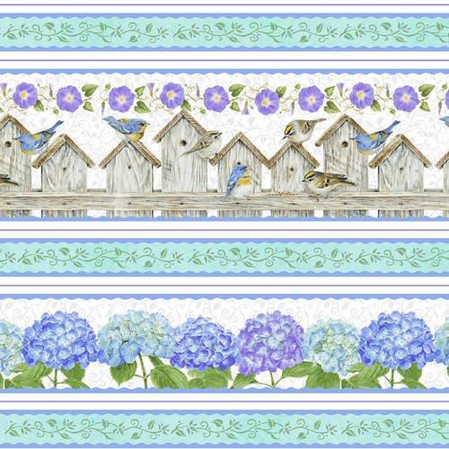HG-Hydrangea Birdsong 1762-17 Blue - Hydrangea Birdsong Stripe