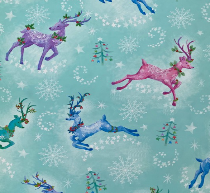 FT-Foust Holiday Exclusives 17842-ES Teal - Multi Reindeer w/Glitter