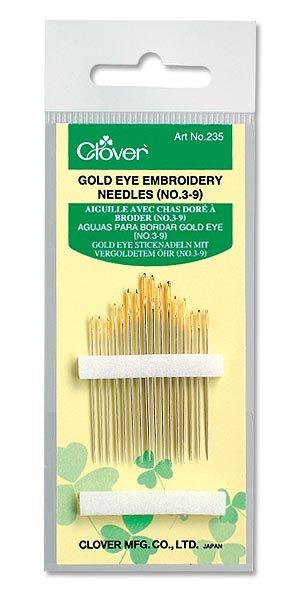 Clover - 235 Gold Eye Embroidery Needles (No. 3-9)
