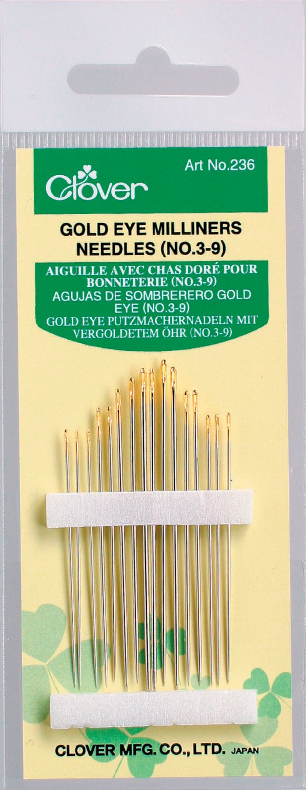 Clover - 236 Gold Eye Milliners Needles (No. 3,5,7,9)