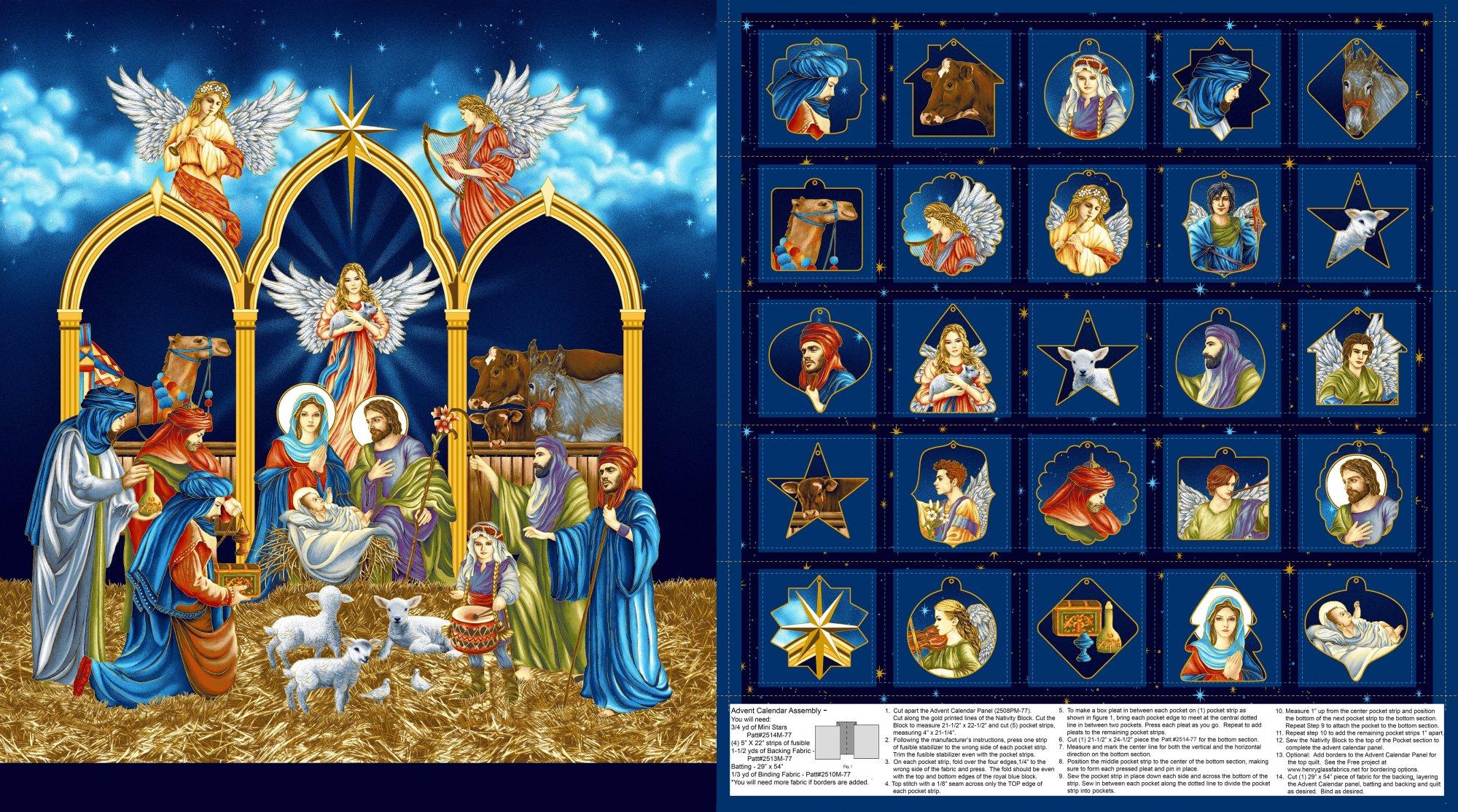 HG-Silent Night (Metallic) 2508PM-77 Midnight - Advent Calendar Panel