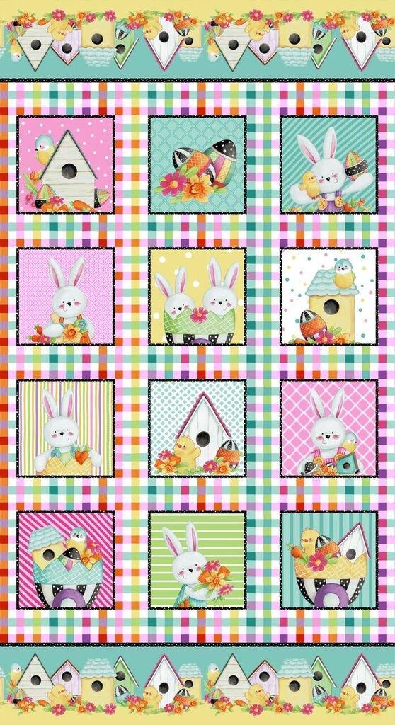 HG-Easter Fun 2576P-22 Pink/Multi - Fun Block Panel 24 x 44