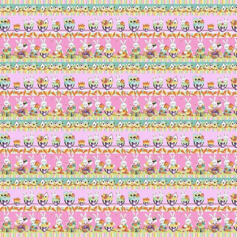 HG-Easter Fun 2577-22 Pink/Multi - Easter Border Stripe