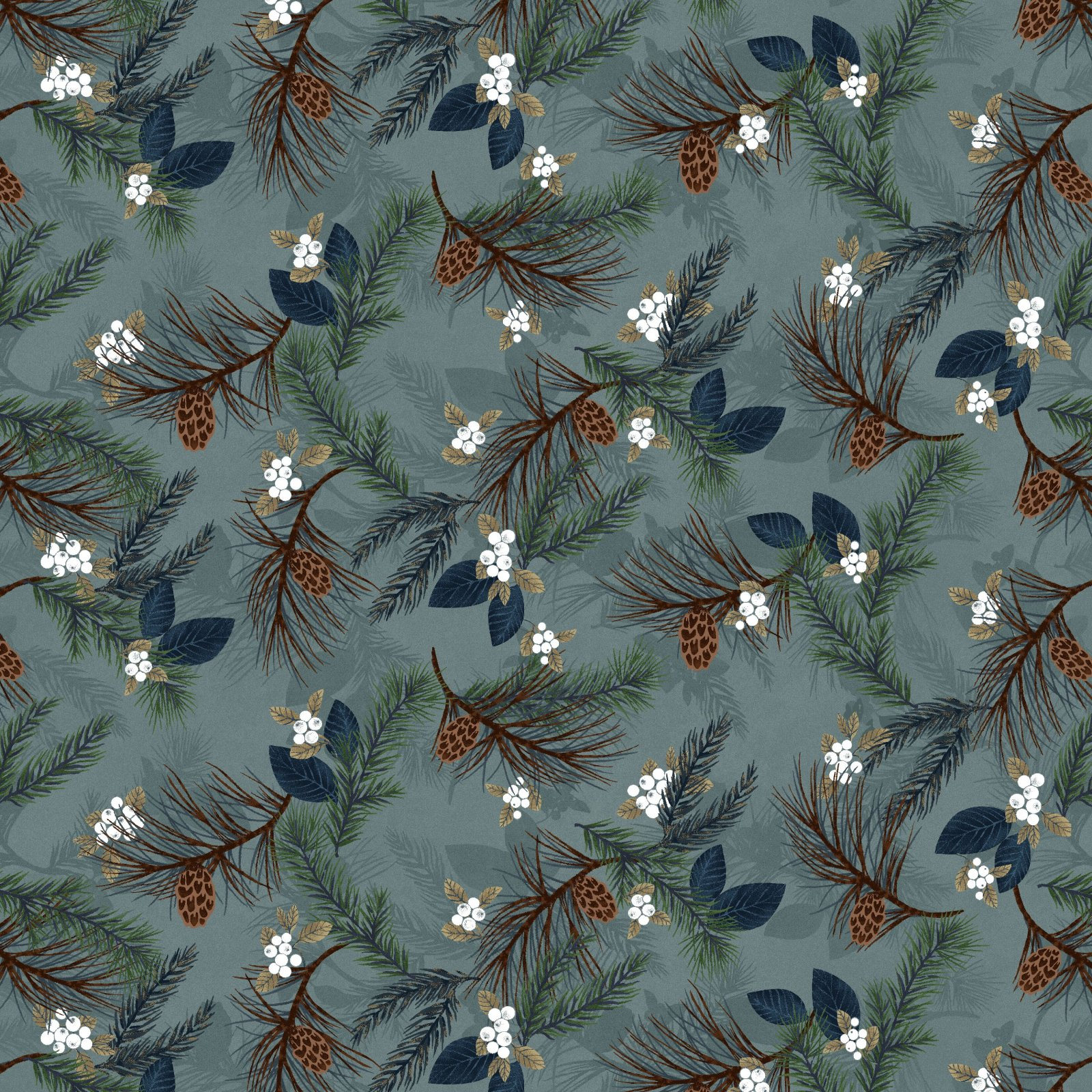 HG-Folk Art Flannel IV 2580F-17 Lt Blue - Pine Boughs