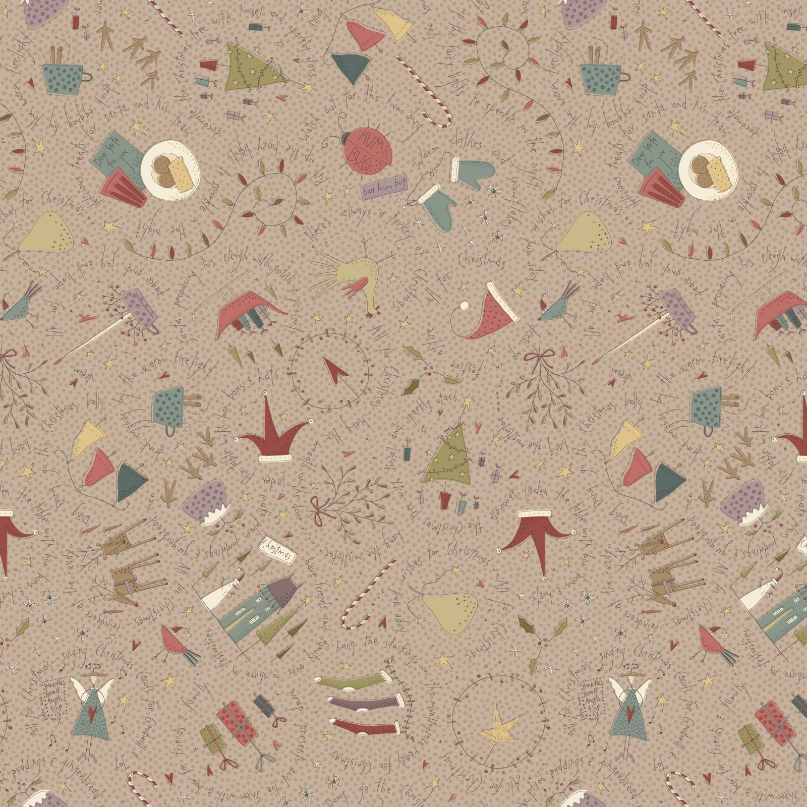HG-All for Christmas 2672-32 Taupe - Large Allover