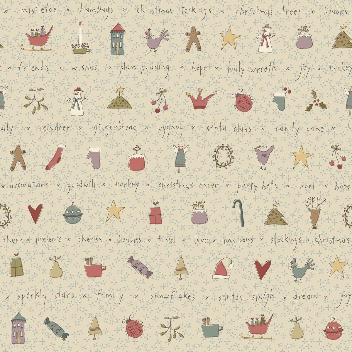 HG-All for Christmas 2678-33 Cream - Stripe