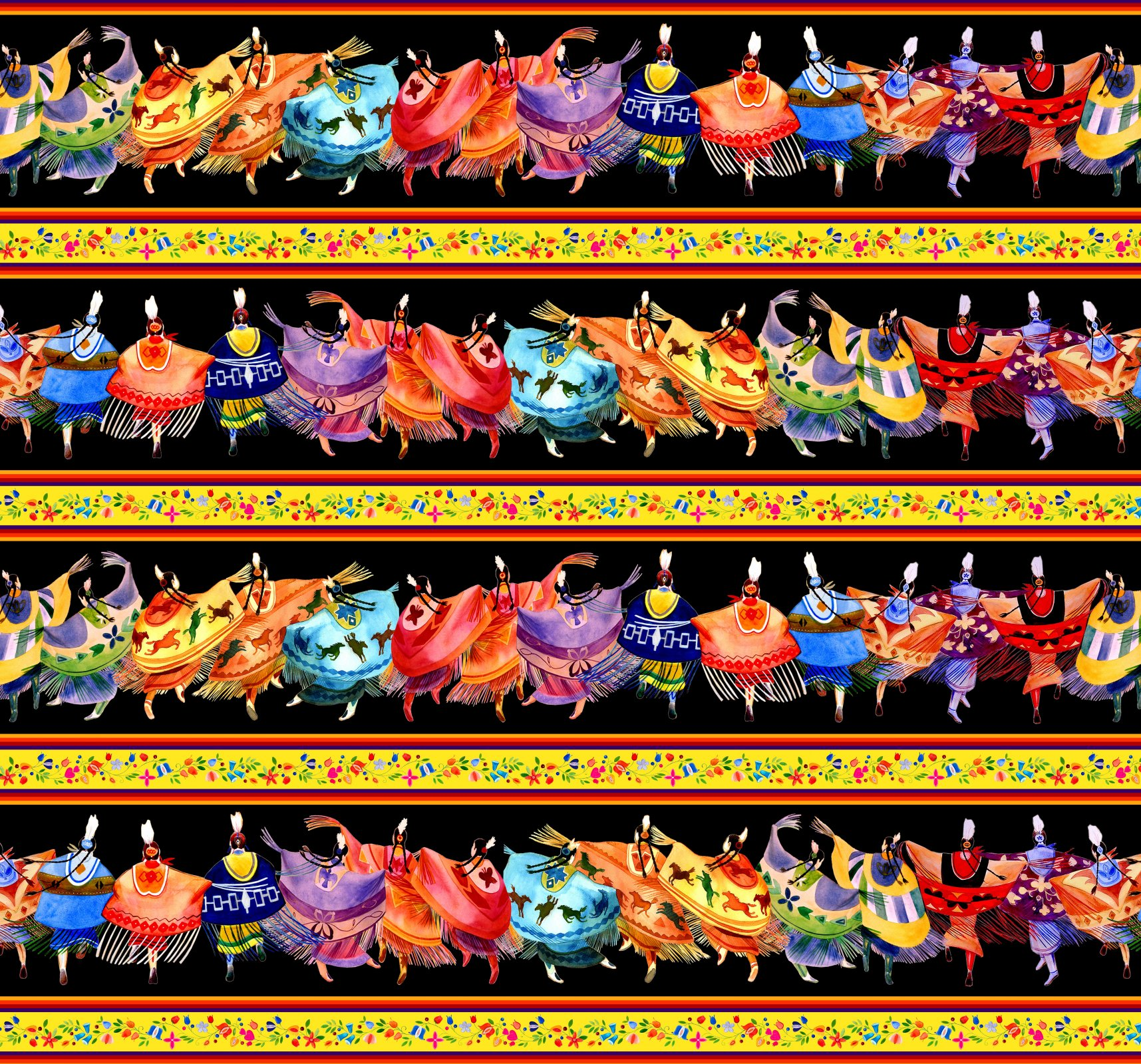 ES-Shawl Dancers 32000 Black - Border Stripe