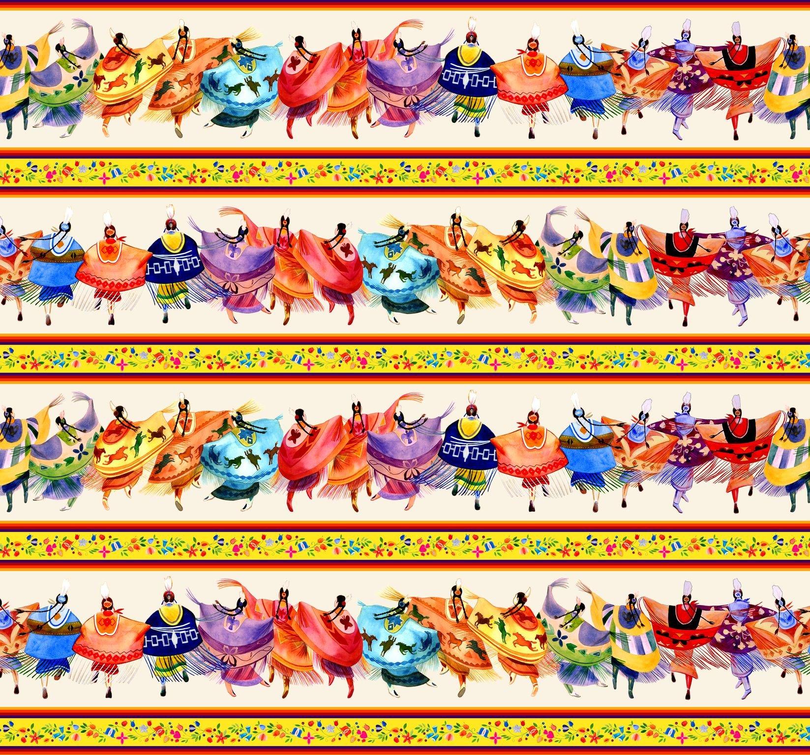ES-Shawl Dancers 32000 Cream - Border Stripe