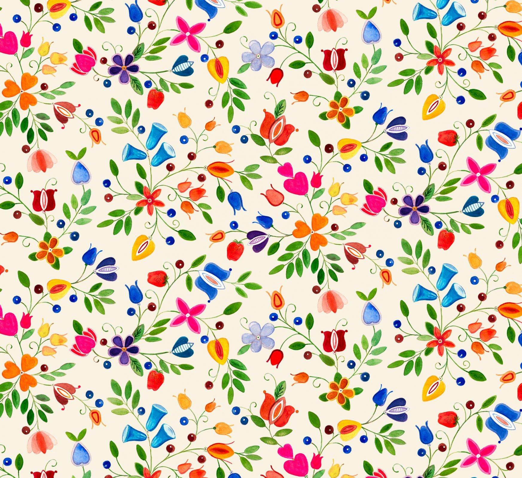 ES-Shawl Dancers 32002 Cream - Small Floral