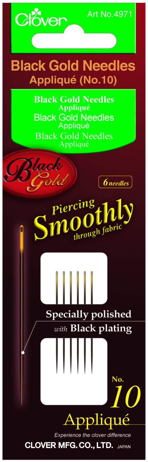 Clover - 4971 Black Gold Applique Needles (No. 10)