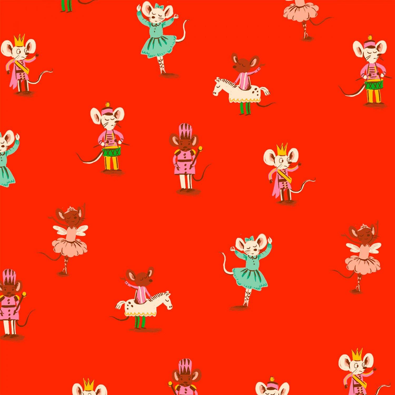 WF-Sugarplum 50166F-4 Red Nutcracker Mice on Flannel 6e5116177