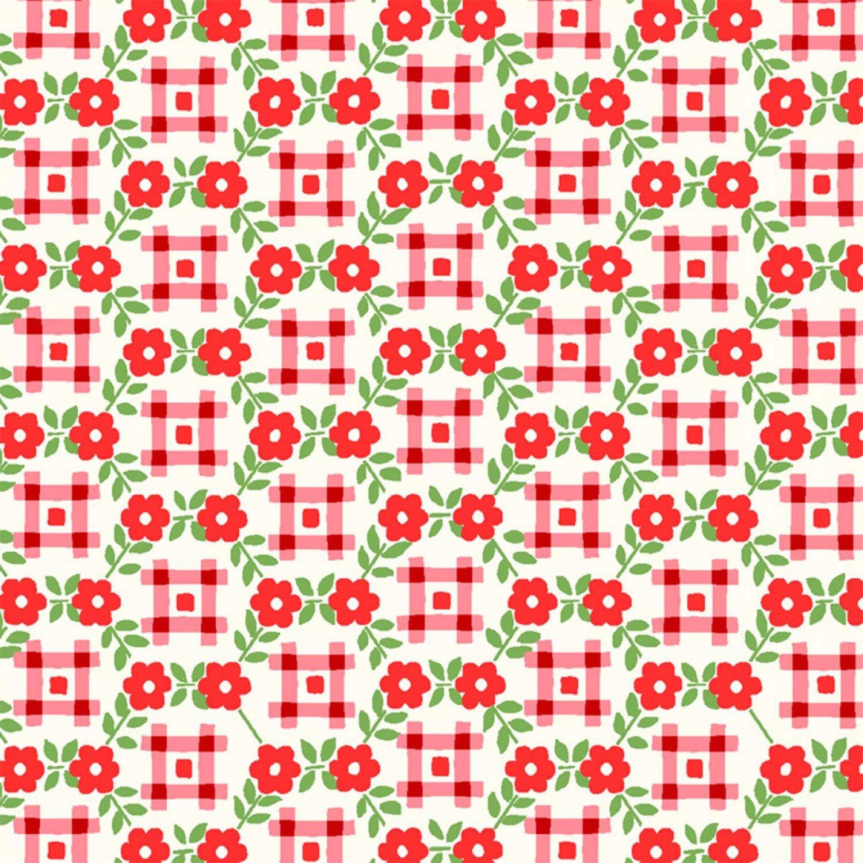 WF-Sugar Sack 50436-1 Red Gingham Floral b4e7636f9
