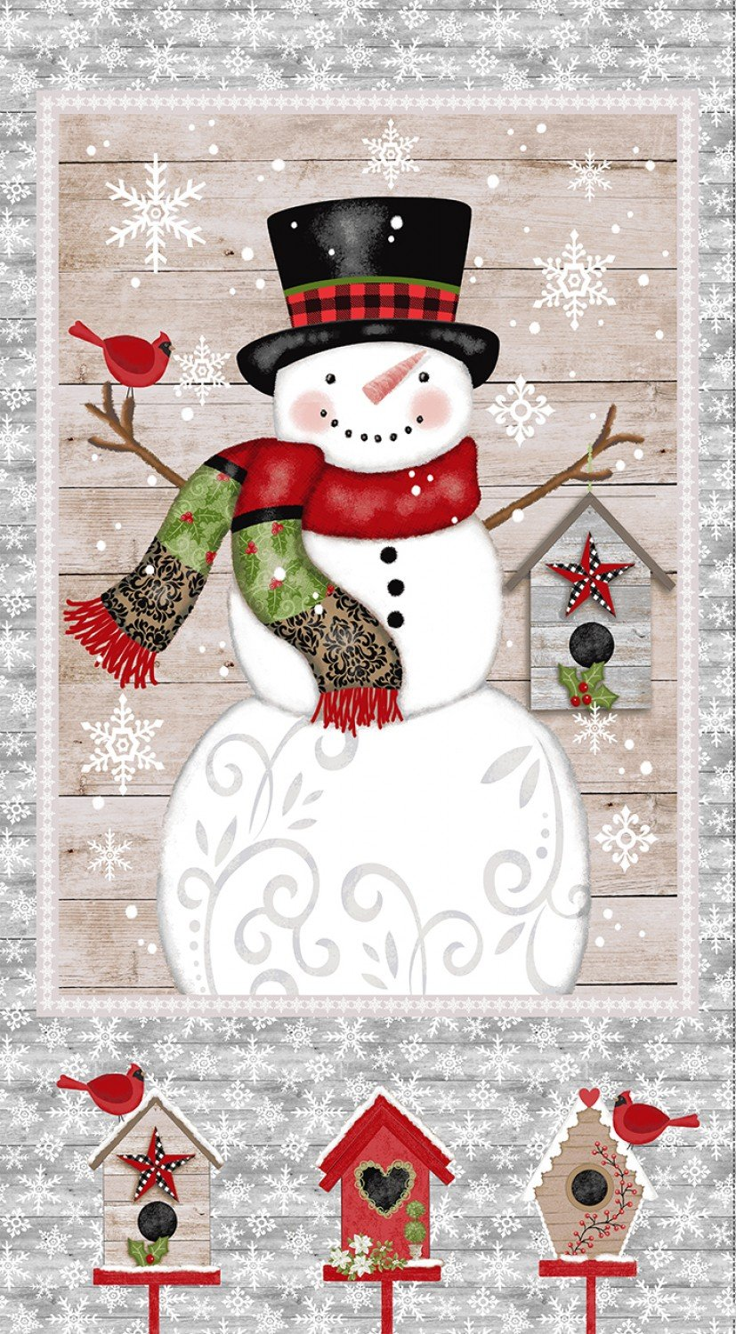 SE-Snow Place Like Home 5159P-90 Gray - Snowman Panel 24 x 44