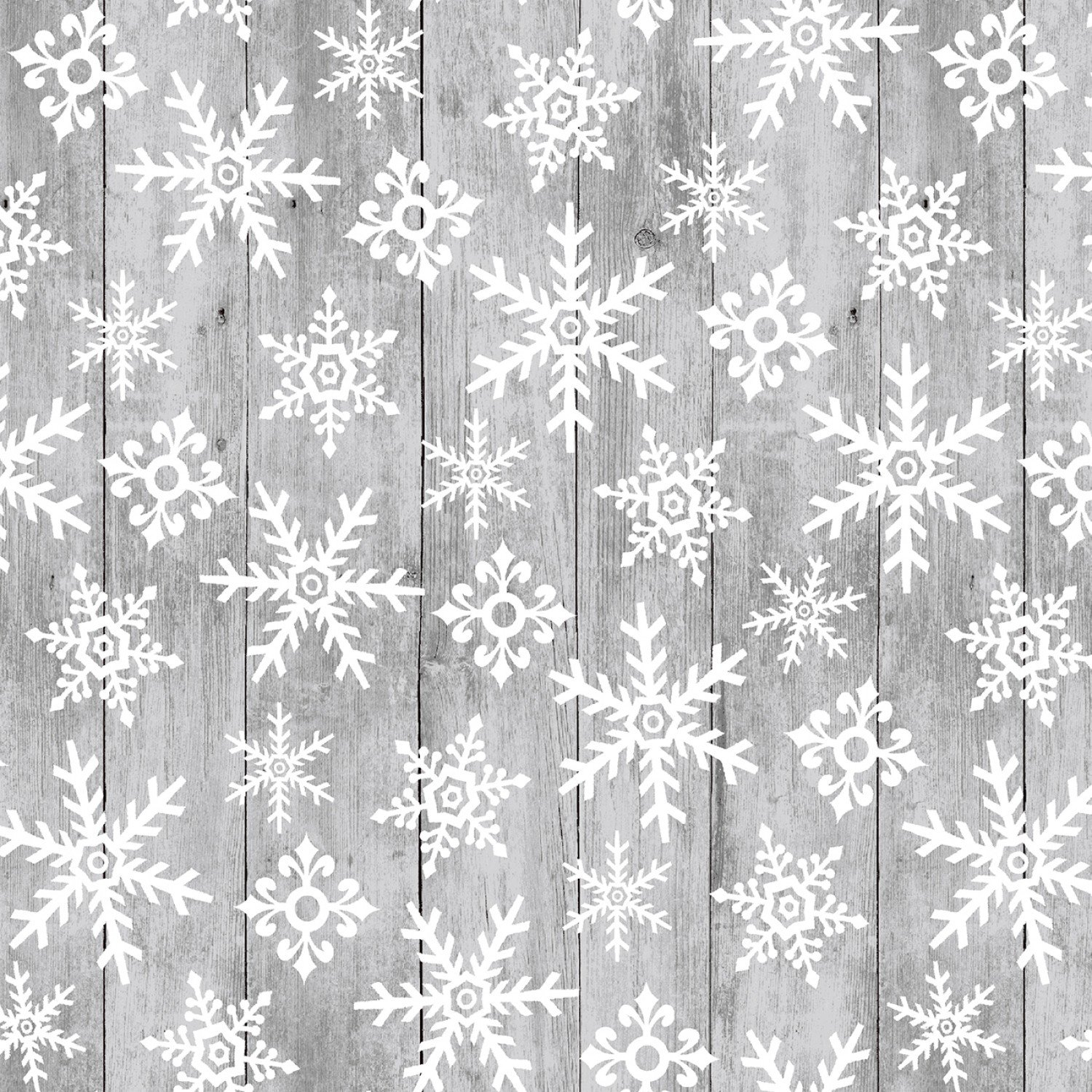 SE-Snow Place Like Home 5166-90 Gray - Tossed Snowflakes on Wood