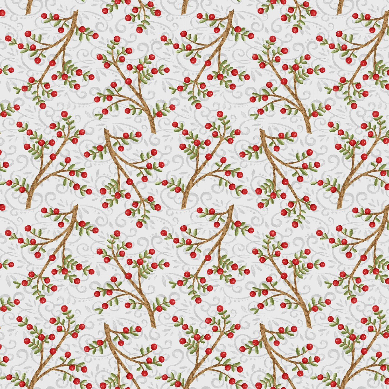 SE-Snow Place Like Home 5170-13 Gray - Tossed Berry Branches
