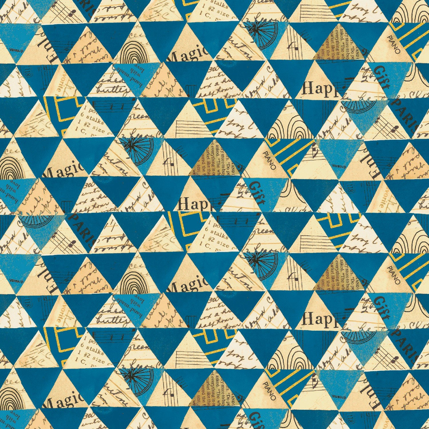 WF-Wish (Linen Cotton) 51743LC-3 Peacock - Collaged Triangles Linen
