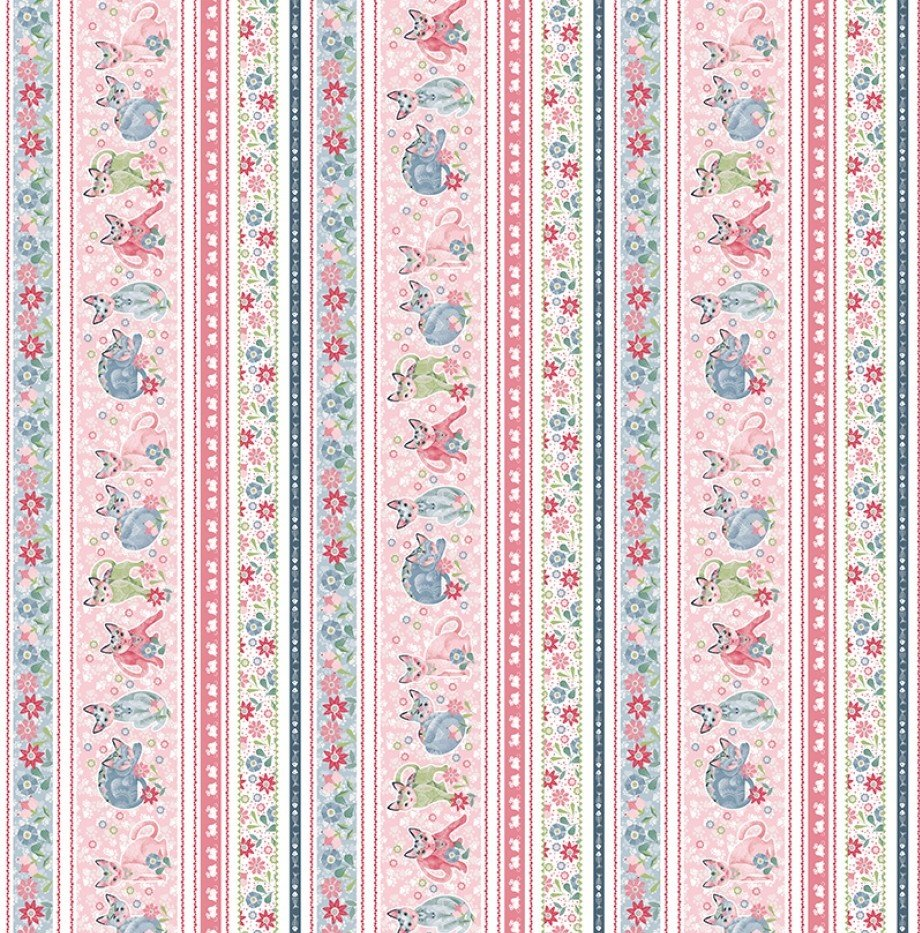 SE-Fancy Cats 5297-27 Multi - Border Stripe