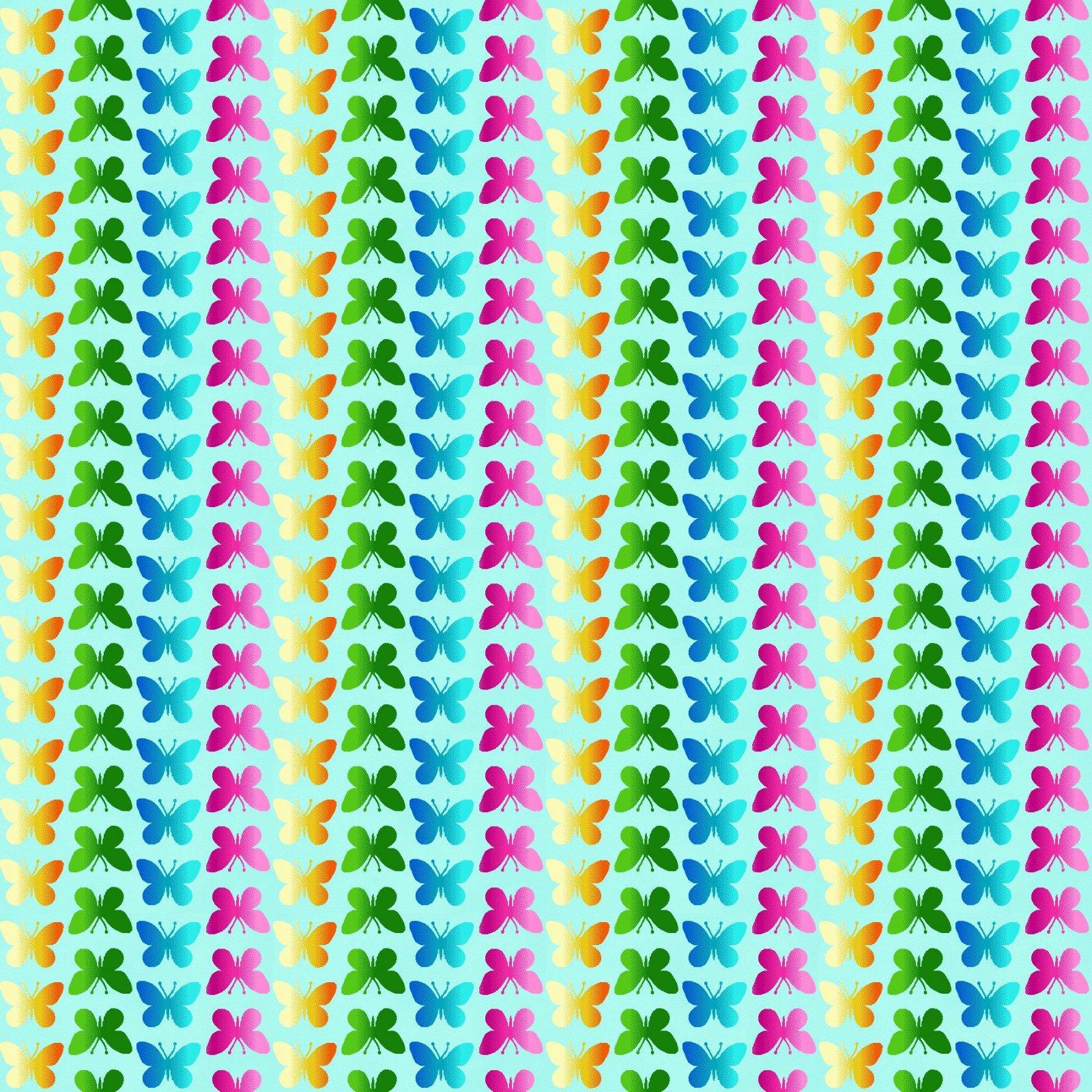 SE-Butterfly Bliss 5922-17 Aqua - Butterfly Ombre Stripe