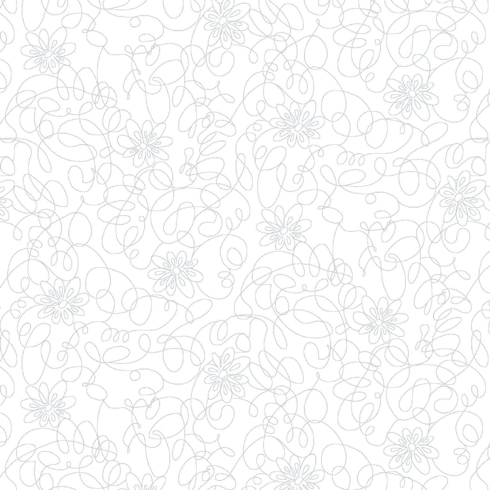 SE-Cream & Sugar X 6106-01W White on White - Scribble Flower