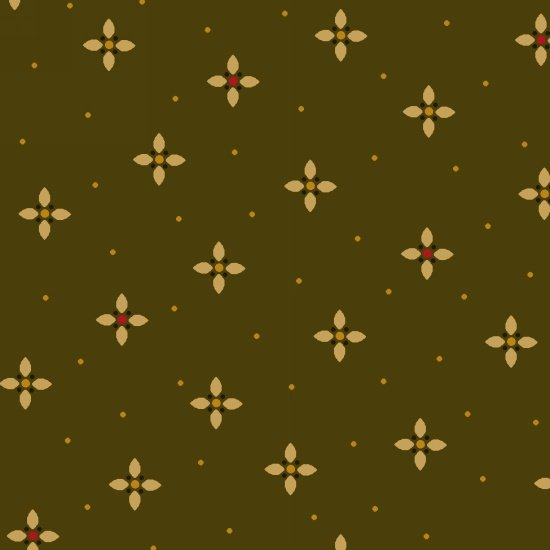 HG-Farmstead Harvest 6937-66 - Tiny geometric petal with dots, and gold dots on green