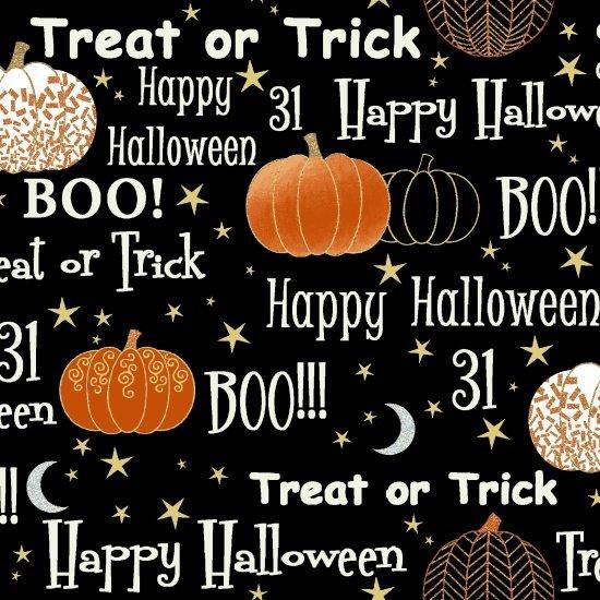 HG-Midnight Spell Metallic 6951M-99 Halloween words and metallic pumpkins