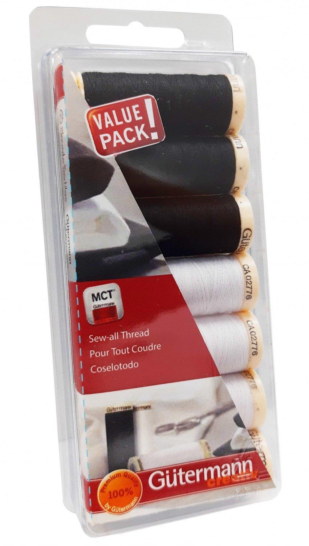 Gutermann Creativ Thread - 713311-1 Sew-All Thread 7 Spools Black & White