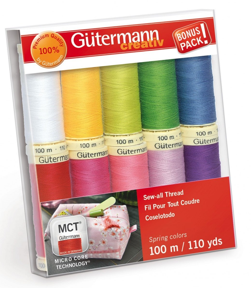 Gutermann Creativ Thread - 734014-1 Spring Sew-All Thread 10 Spools/10 Colors