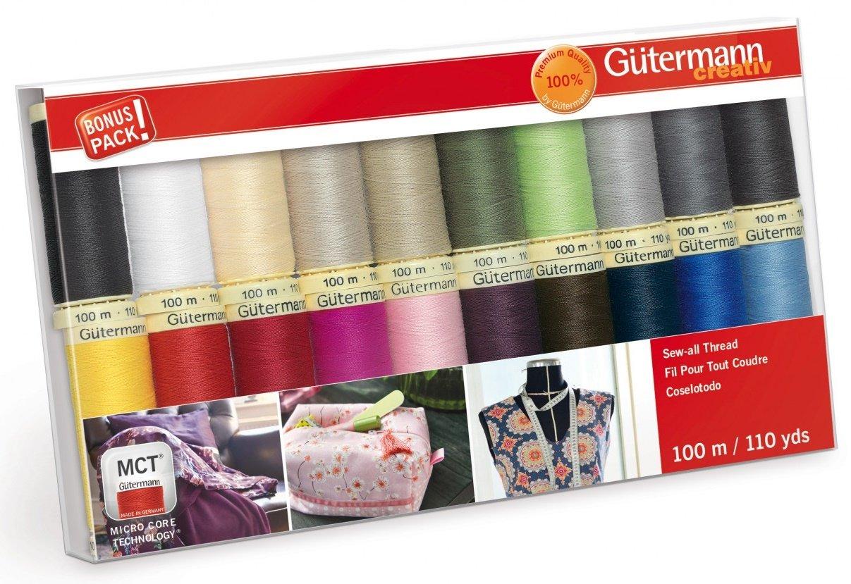 Gutermann Creativ Thread - 734015-1 Sew-All Thread 20 Spools/20 Colors