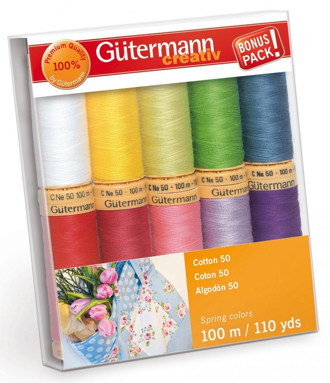 Gutermann Creativ Thread - 734016-1 Spring Cotton 50 - 10 Spools/10 Colors