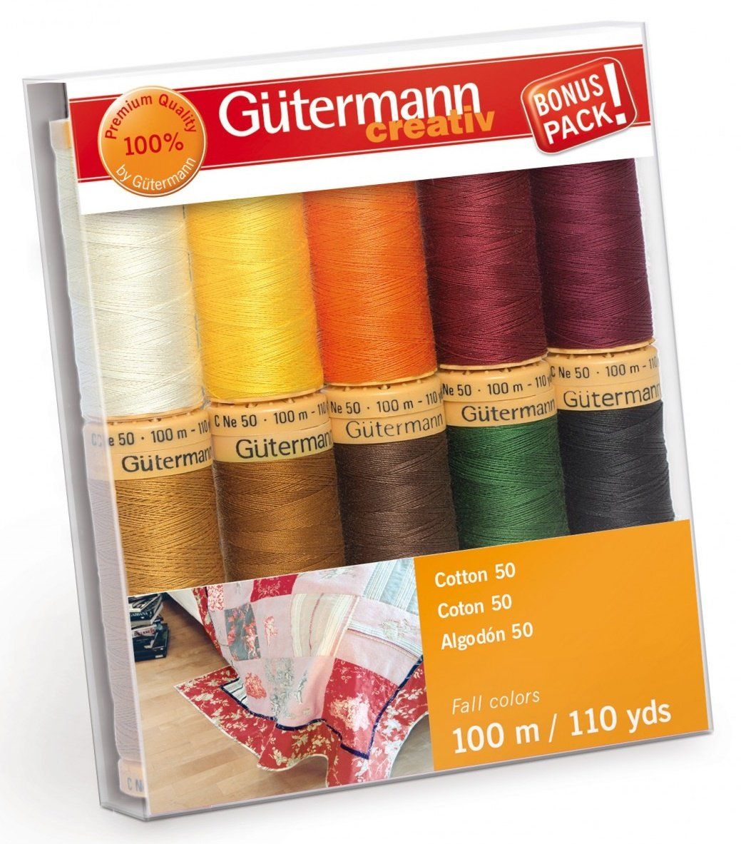 Gutermann Creativ Thread - 734016-2 Fall Cotton 50 - 10 Spools/10 Colors
