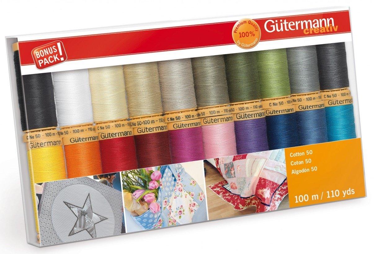 Gutermann Creativ Thread - 734017-1 Cotton 50 - 20 Spools/20 Colors