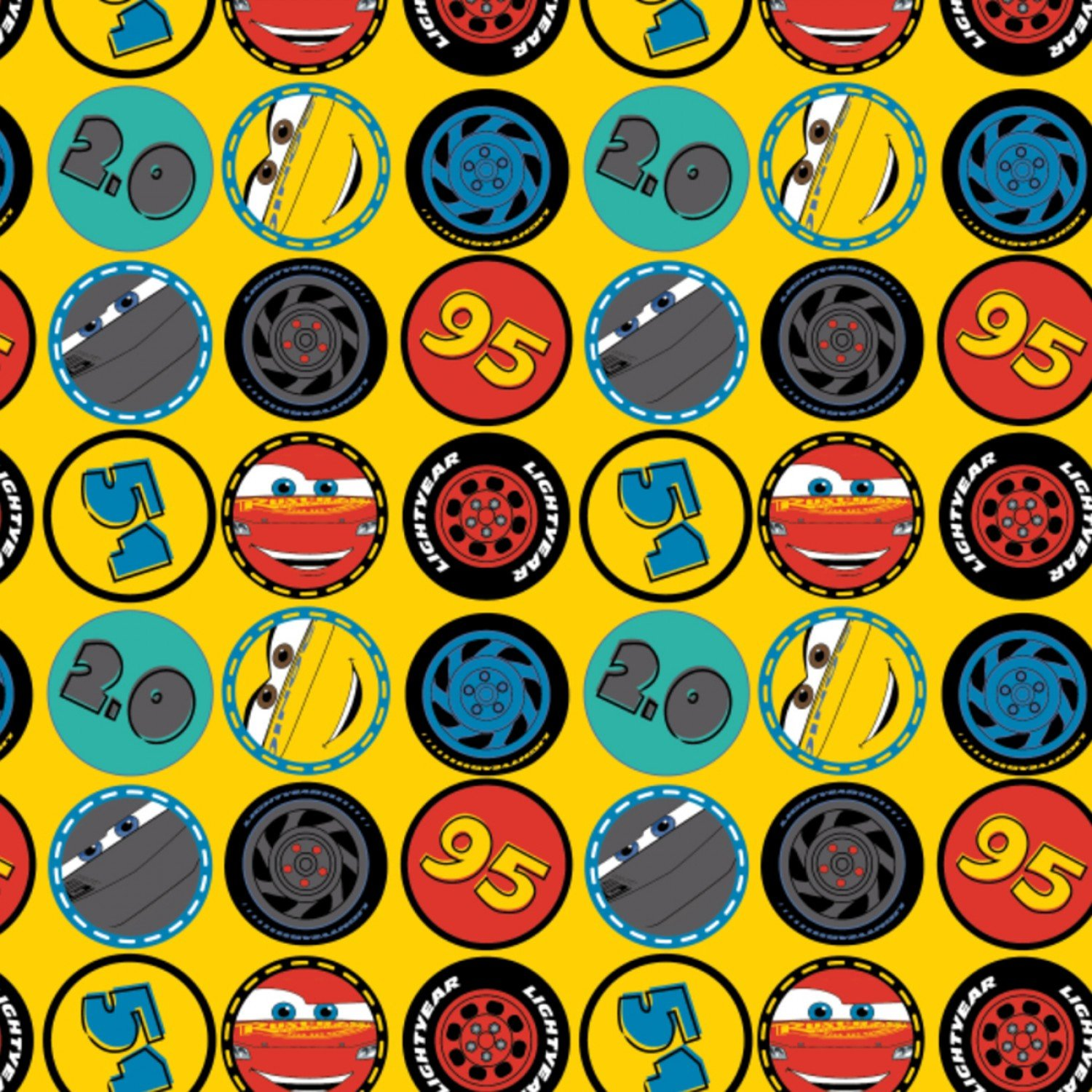Disney Pixar Cars Wheels in Yellow Camelot 100/% cotton fabric by the yard