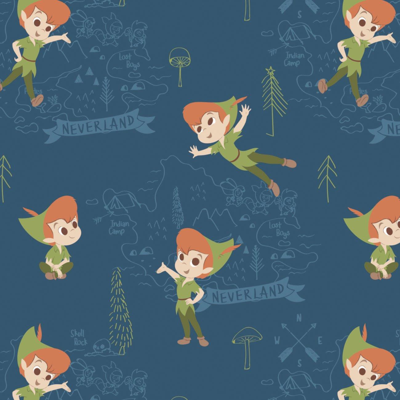 CF-Peter Pan & Tinkerbell 85330201B-03 Blue - Neverland Adventures Flannel