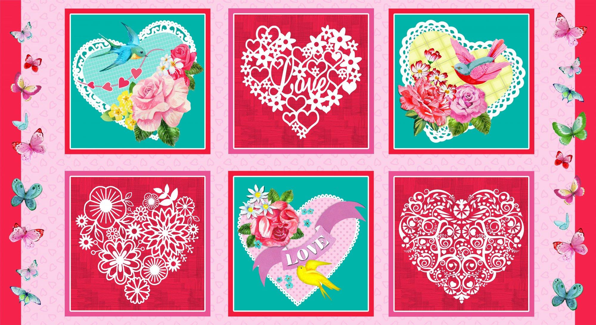 HG-Heart & Soul 9435-22 Pink/Multi - 24 Heart Blocks Repeat