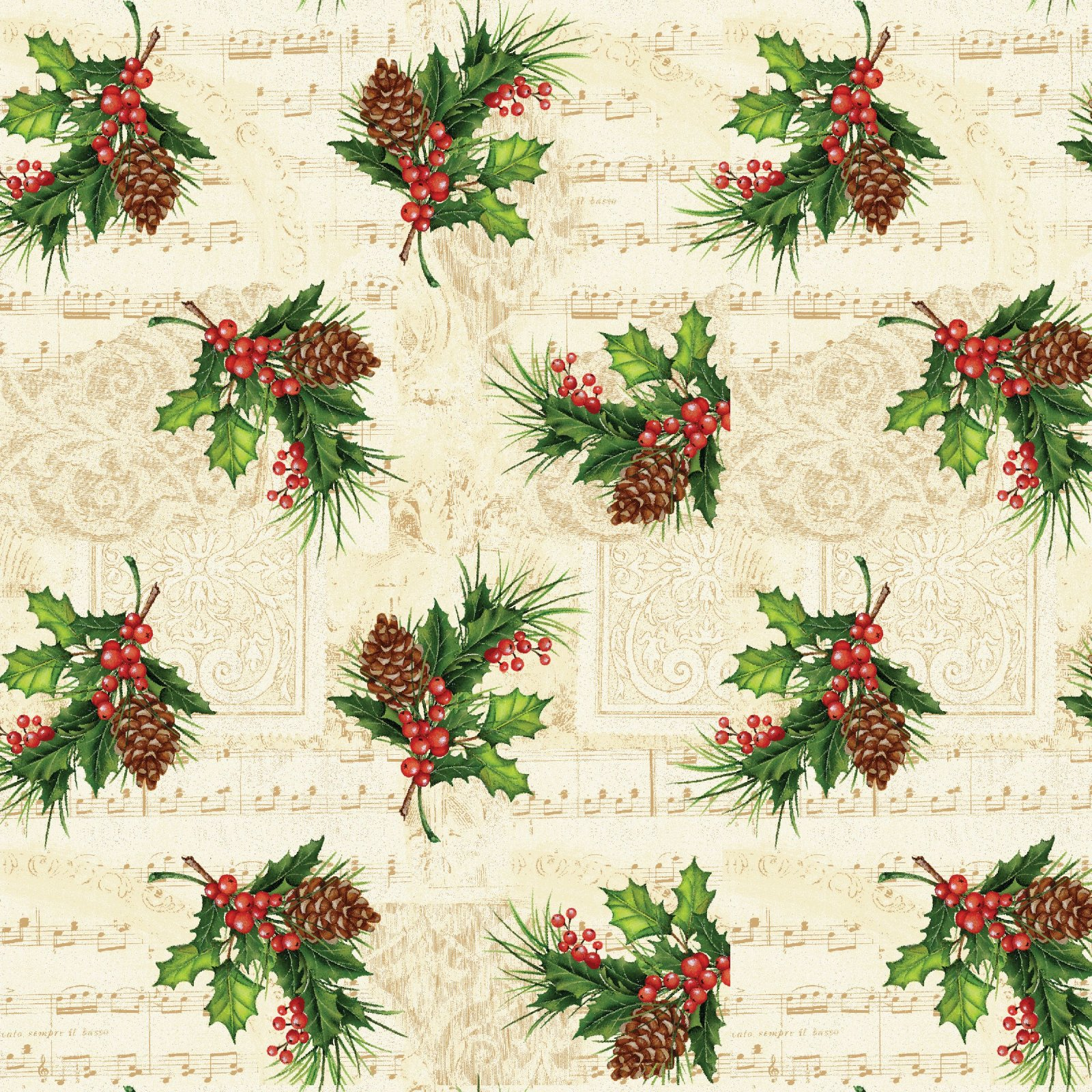 HG-Christmas Legend 9516-44 Cream - Holly Leaf and Berry