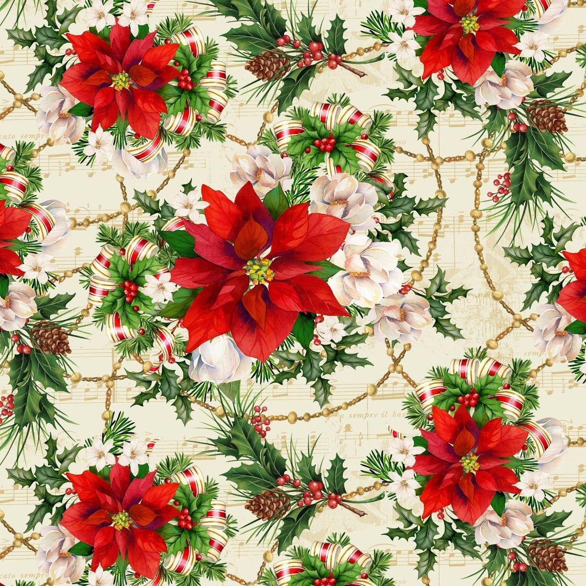 HG-Christmas Legend 9518-44 Cream - Poinsettia Print