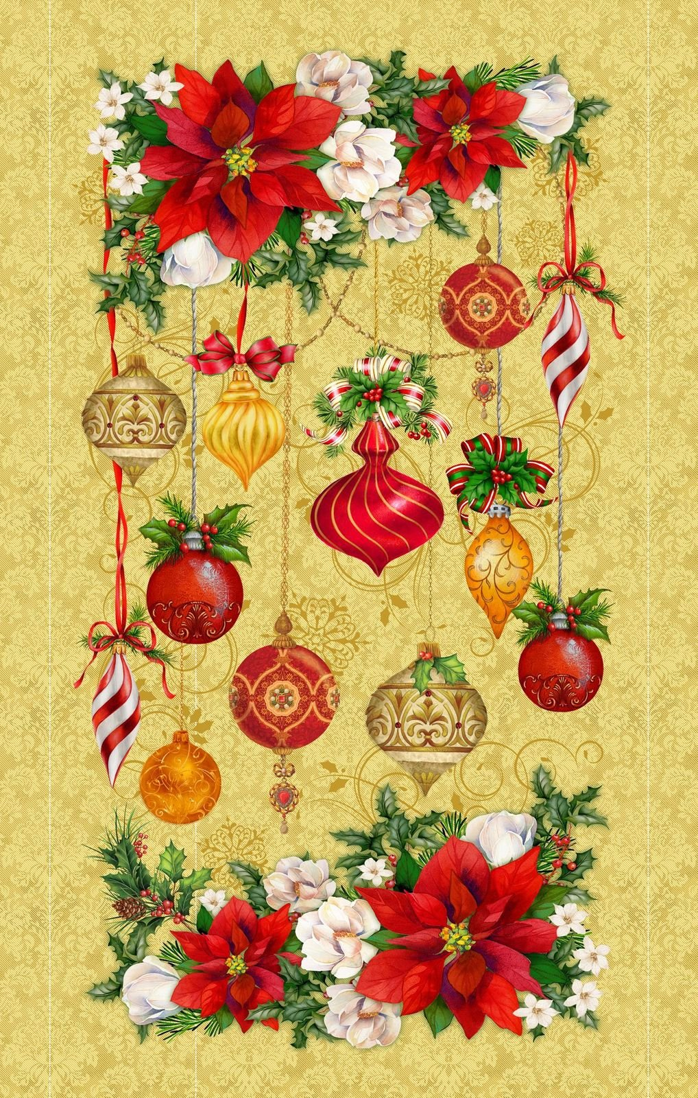 HG-Christmas Legend 9523P-33 Gold - Floral and Ornament Panel