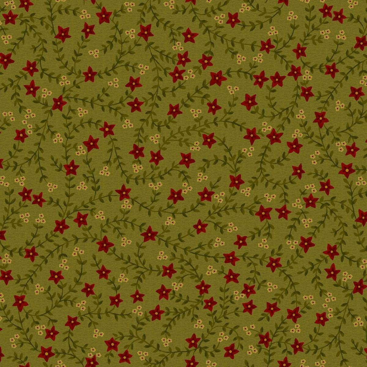 HG-Farmhouse Christmas 9670-66 Green - Vines and Red Flowers