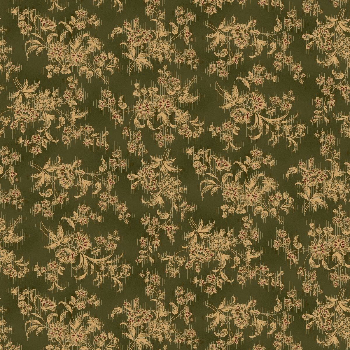 HG-Farmhouse Christmas 9676-66 Green - Stylized Floral