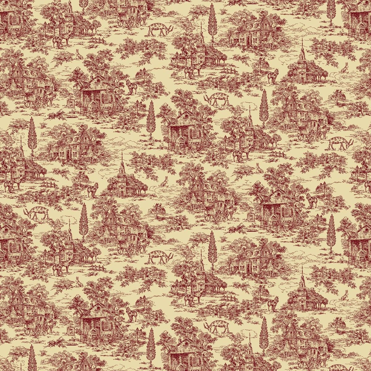 HG-Farmhouse Christmas 108 Quilt Back 9685-44 Cream - Red Toile on Cream Background