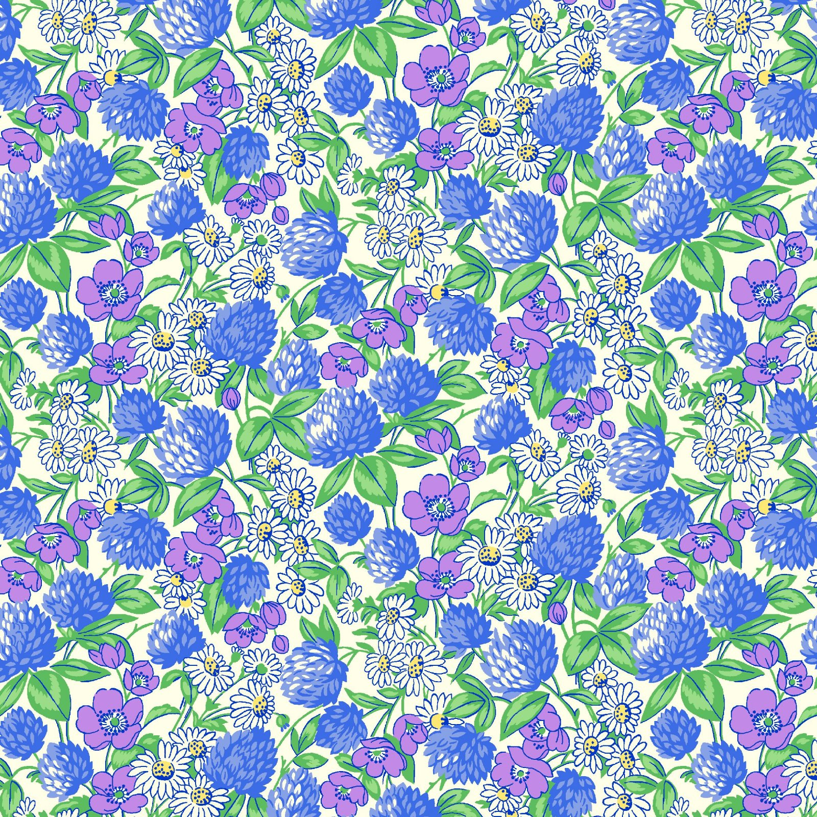HG-Nana Mae V 9687-1 Blue - Clover and Daisies