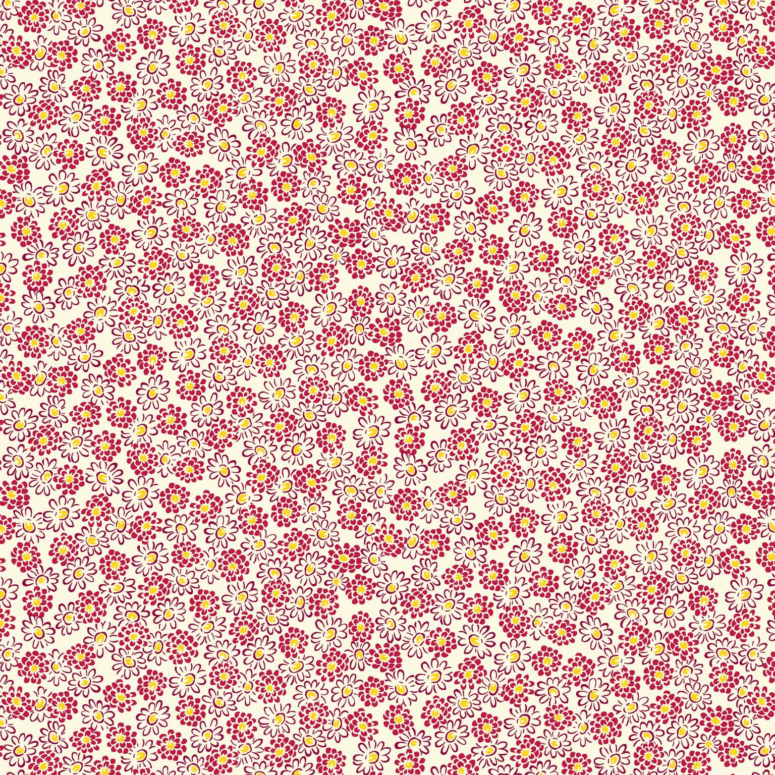 HG-Nana Mae V 9691-84 Cream/Red - Spaced Small Floral