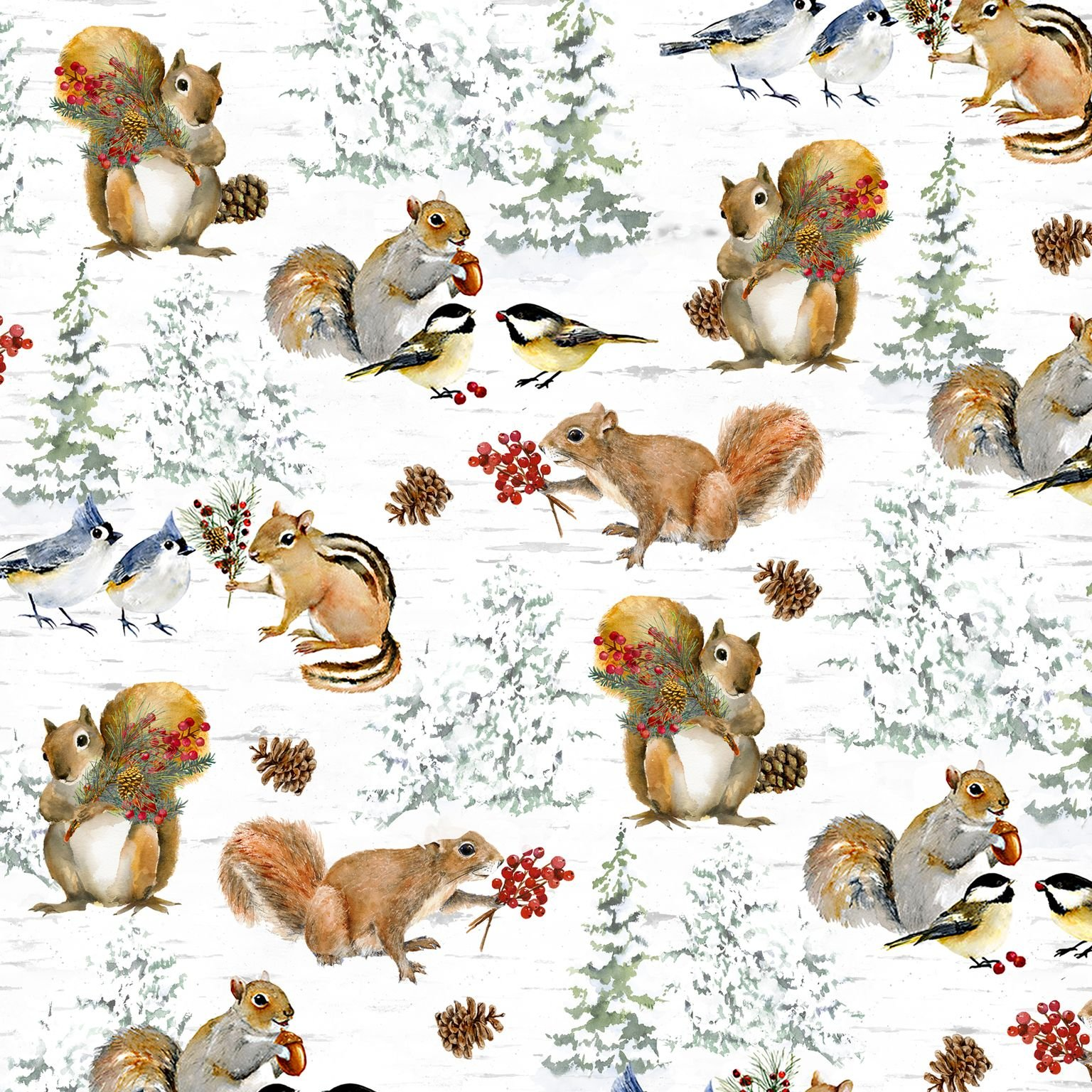 HG-Welcome Winter 9708-9 Multi - Squirrels and Birds