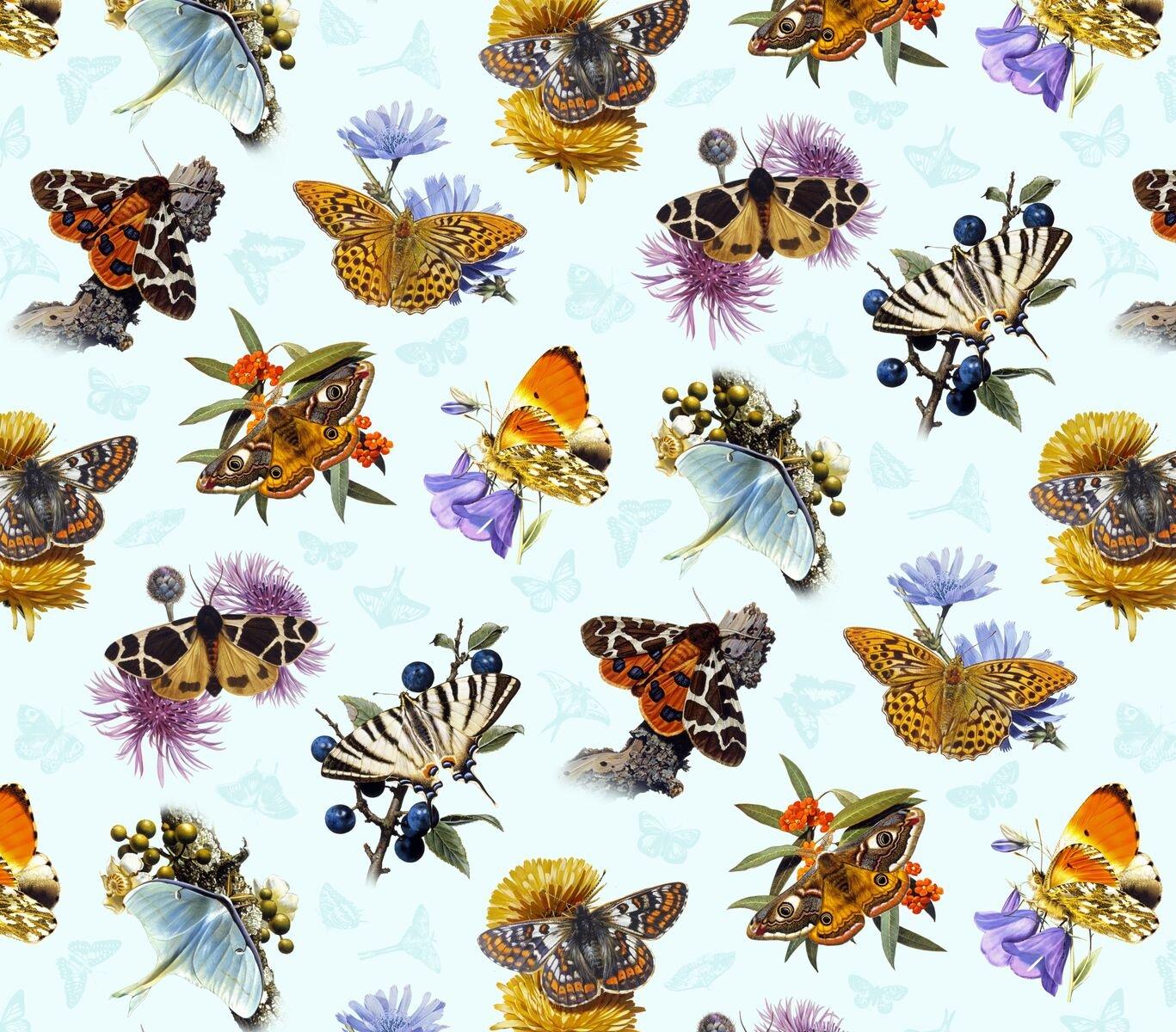 PROMO* ES-Butterflies and Moths 9801 Butterflies, Moths, Flowers - Sky Blue