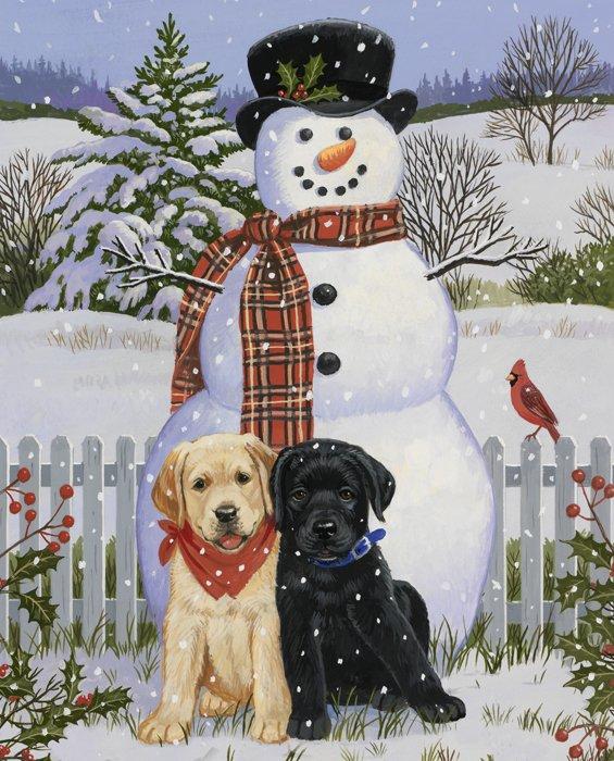 DT-Exclusive Digital Prints AL-3547-9C-1 Multi -  Snowman with Friends 36 x 44 Panel