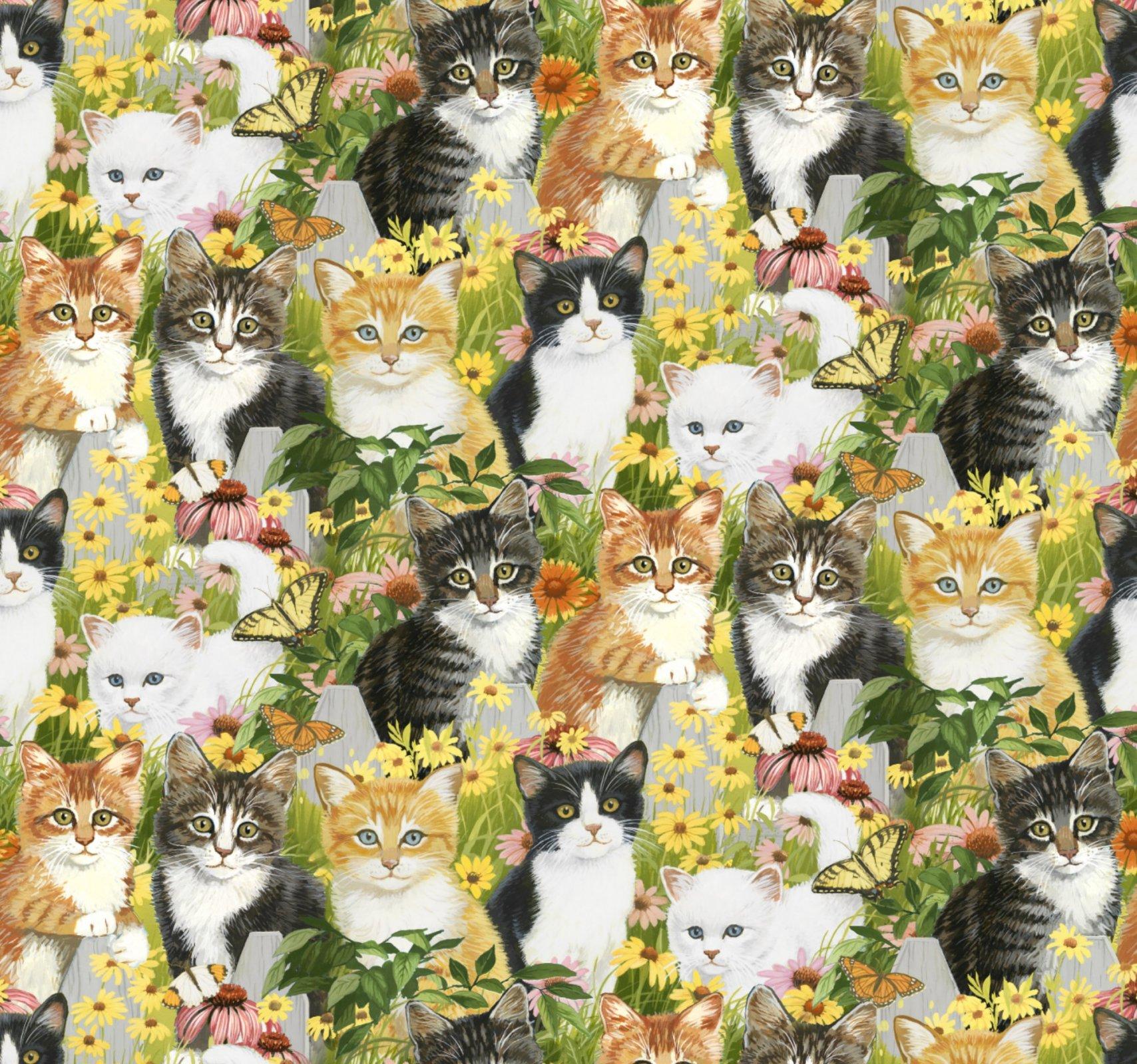 DT-Animal Love AL-3583-0C-1 Multi - Kittens and Daisies