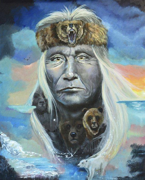 DT-Native American AL-3772 Chief Bear Panel (44 x 36)
